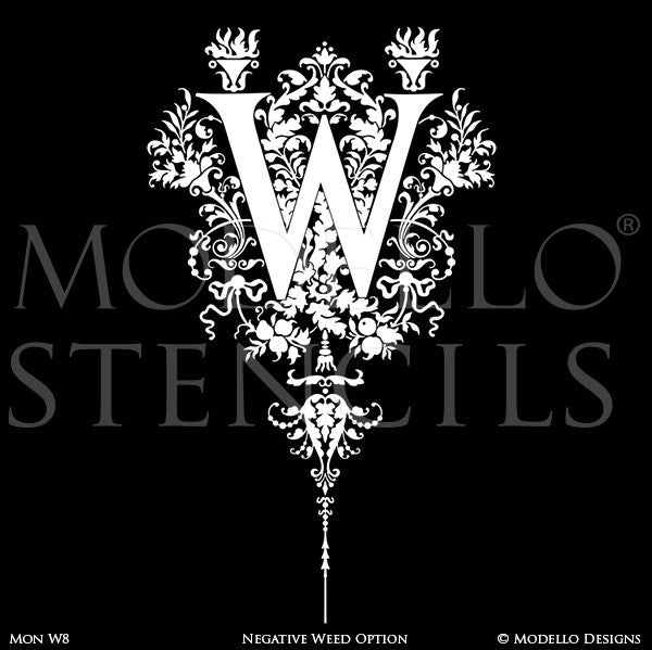 Letter W Painted Lettering Initial Family Name Monogram - Modello Custom Stencils