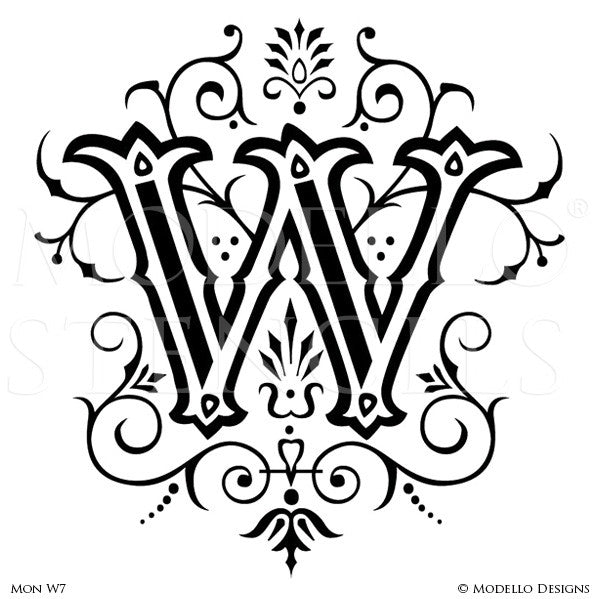 Letter W Decorative Lettering Design Painted on Wall Quotes and Lettering - Modello Custom Stencils
