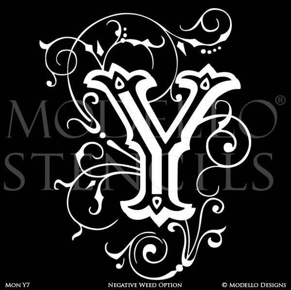 Letter Y Decorating Family Name and Initials on Wall with Modello Custom Stencils