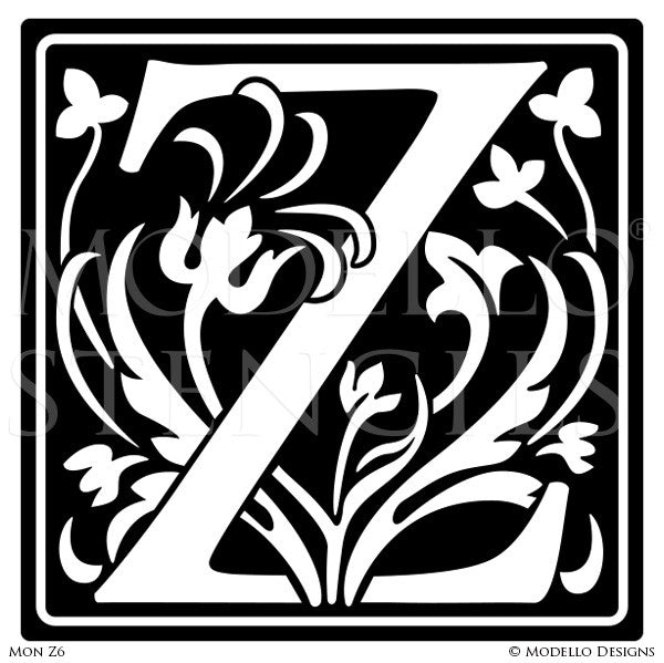 Letter Z Professional Decorating and Painting Monogram Designs - Modello Custom Stencils