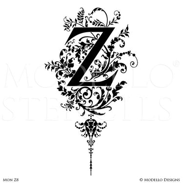 Letter Z Custom Adhesive Alphabet Lettering Stencils for Decorative Painting Projects - Modello Custom Stencils
