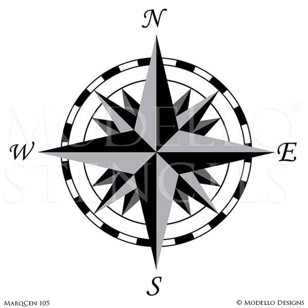 Painted Compass on Marquetry Wood Floors - Modello Medallion Stencils