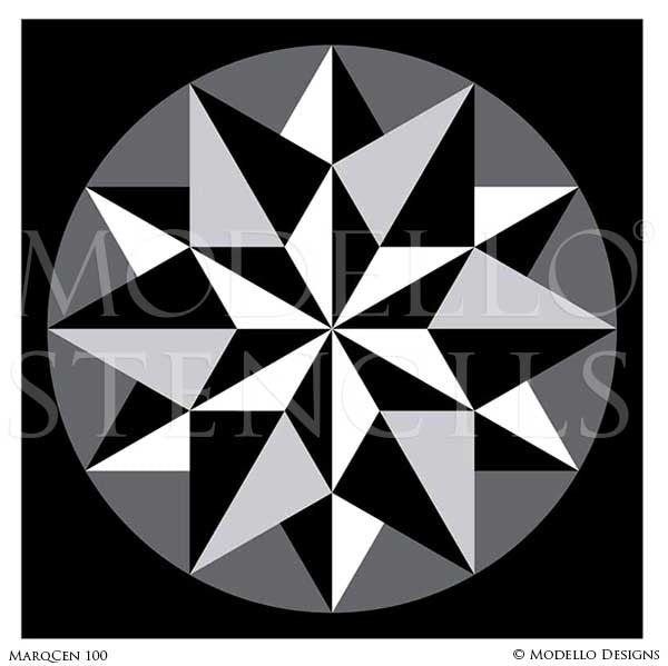 Geometric Stars Design on Painted Wall Art - Custom Painted Marquetry Wood Floors Stencils