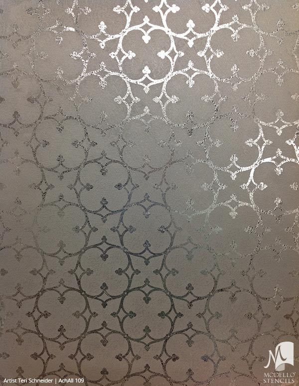 Metallic Modern Wall Designs - Modello Custom Stenciled Wall