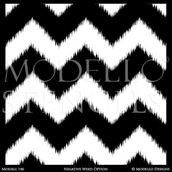 Modern Chevron Pattern Painted on Wall Mural - Modello Decorative Wall Stencils
