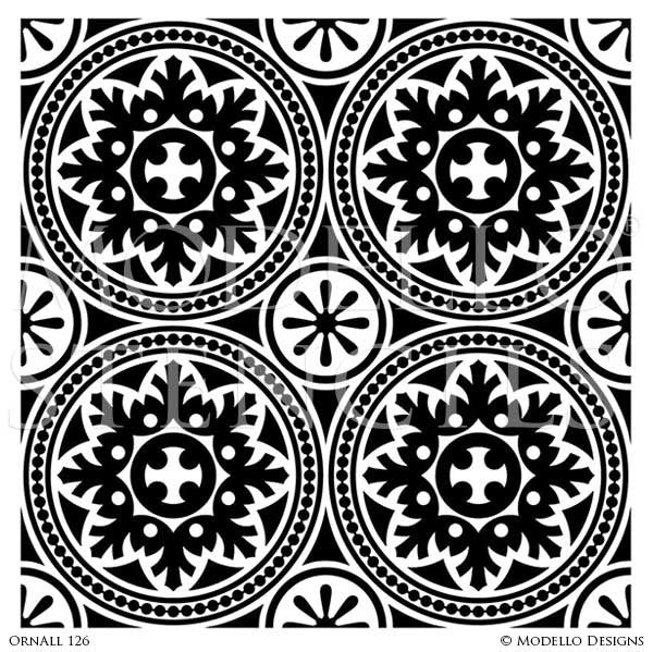 Adhesive Vinyl Stencils for Painting Decorative Ceiling Panels Designs or Decorative Concrete Carpet Stencils - Modello Custom Stencils