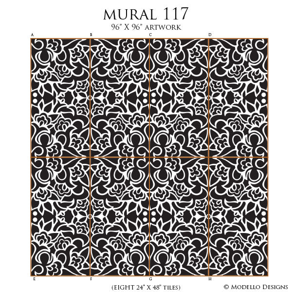 Decorative Tile Mural Art - Modello Custom Stencils for Painting DIY Mural Wall