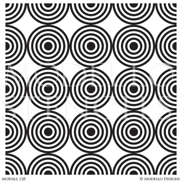 Modern Retro Circle Wall Stencils or Floor Stencils - Modello Designs