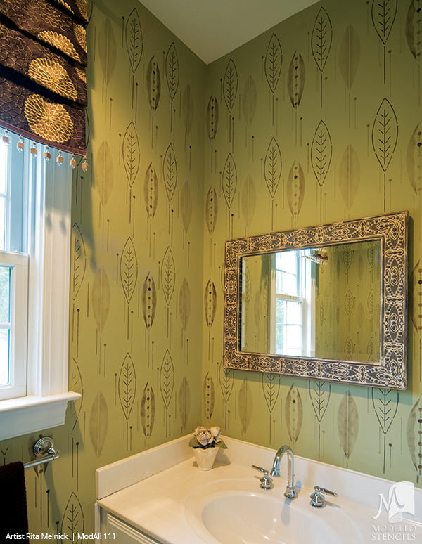 Leaves Leaf Designs on Custom Painted Walls - Modello Custom Adhesive Vinyl Wallpaper Stencils