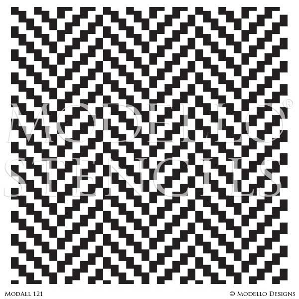 Modern Ikat Chevron Pattern for Decorative Stenciling Decor - Modello Designs