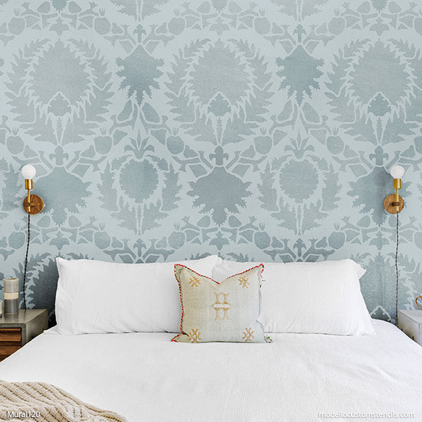 Large Custom Stencils Suzani Fabric Pattern Wallpaper - Modello Designs Custom Mural Stencils