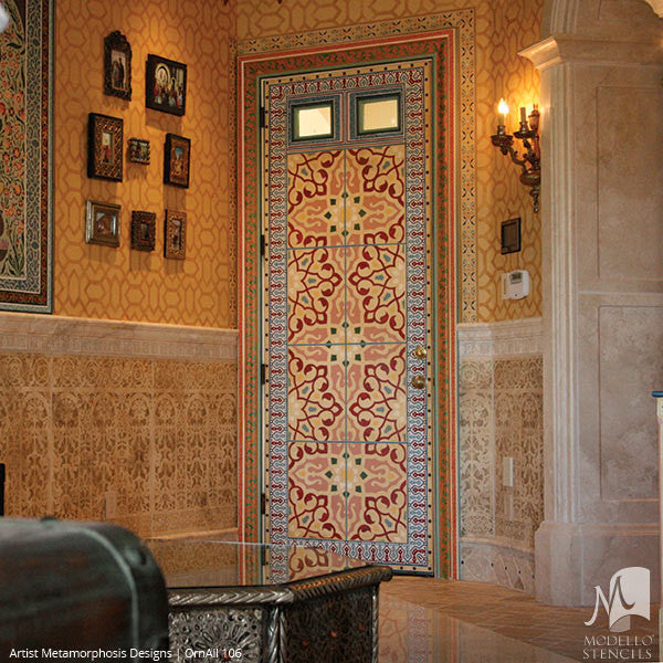Asian Indian Moroccan Designs Painted on Large Doors - Modello Custom Stencils