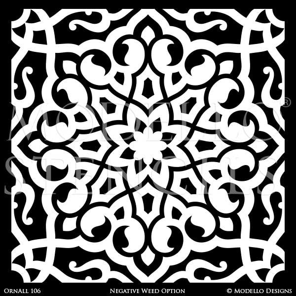 Boho Chic Wall Art Tile Stencils - Moroccan Asian Eastern Oriental Indian Decor - Modello Custom Stencils