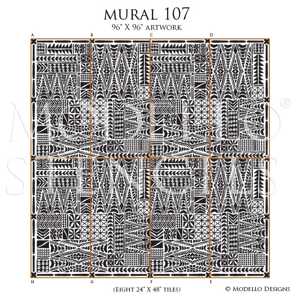 Large Murals for DIY Mudcloth Decor Ideas - Geometric African Wall Stencils, Tribal Art Mural Stencils - Modello Custom Wall Stencils