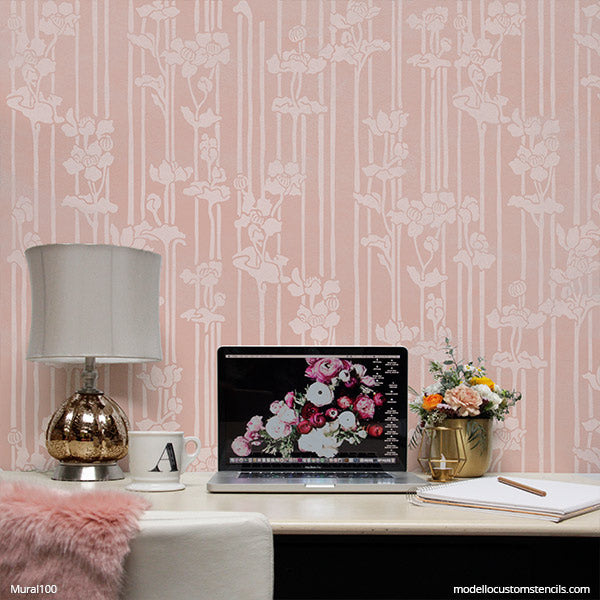 Floral Wall Mural Design Stencils - Painting Stencils for DIY Mural Wall Art Pattern - Modello Custom Stencils
