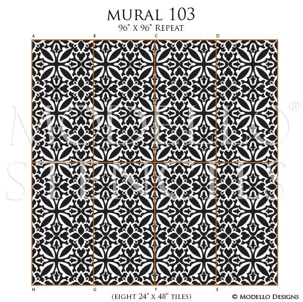 Large Tile Wall Mural Design - Painted Feature Wall Art - Tile Stencils - Wall Stencils - Modello Designs Custom Tiles Stencils