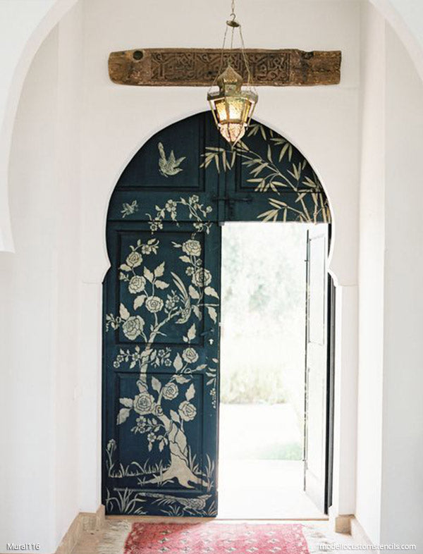 Custom Door Design Chinoiserie Pattern Wall Mural Flower Stencil Bird Stencil Asian Stencils - Modello Designs Custom Stencils - modellocustomstencils.com