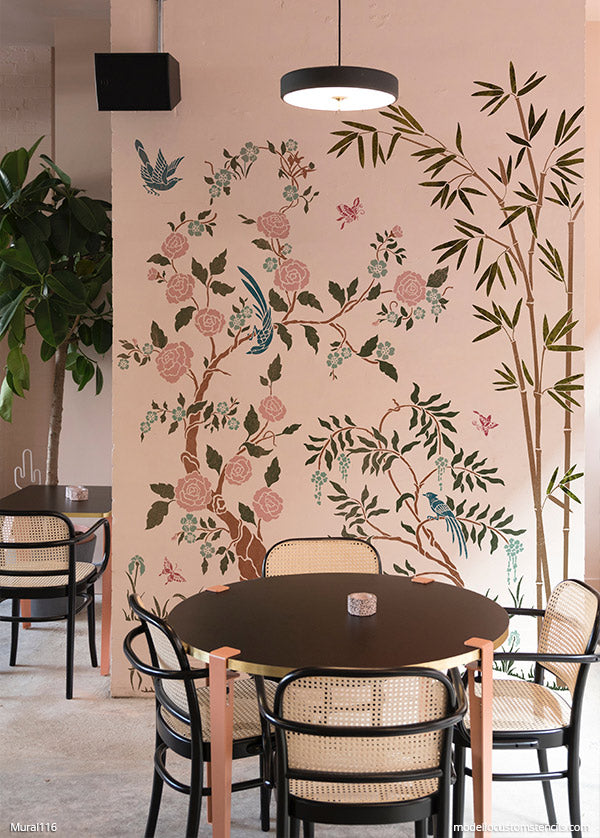 Chinoiserie Wall Art Painted Mural Wall Stencils Flowers and Birds Wall Decor - Modello Designs Custom Stencils - modellocustomstencils.com