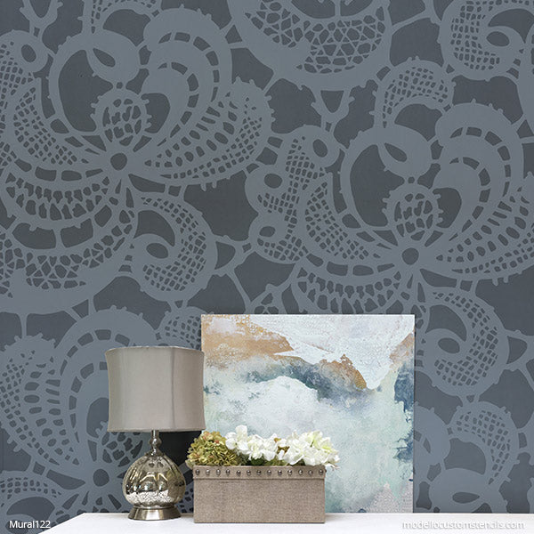 Shabby Chic Farmhouse Wall Decor DIY Mural Pattern - Modello Designs Painting Stencils modellocustomstencils.com