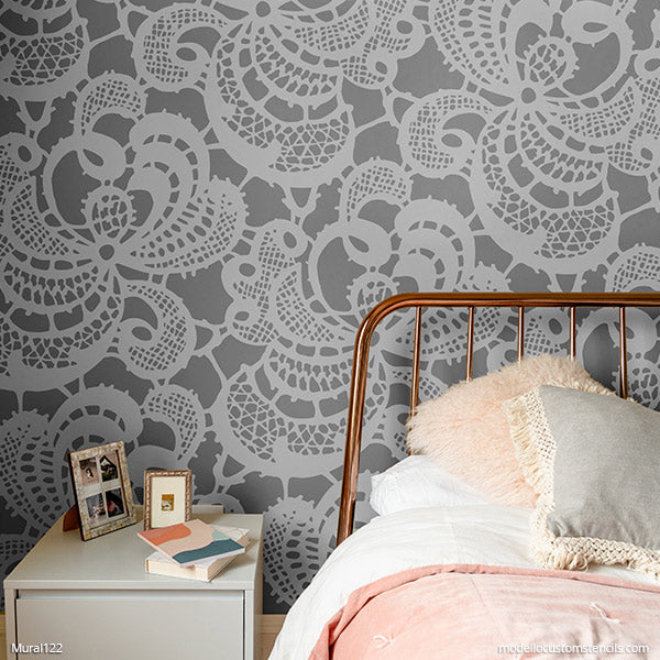 Lace Wallpaper Shabby Chic Wall Art Stencils Large Custom Stencils - Modello Custom Mural Stencils modellocustomstencils.com