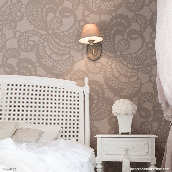 Custom Stencils for Painting DIY Mural Art - Lace Damask Wall Painting Pattern - Modello Designs Mural Stencils modellocustomstencils.com