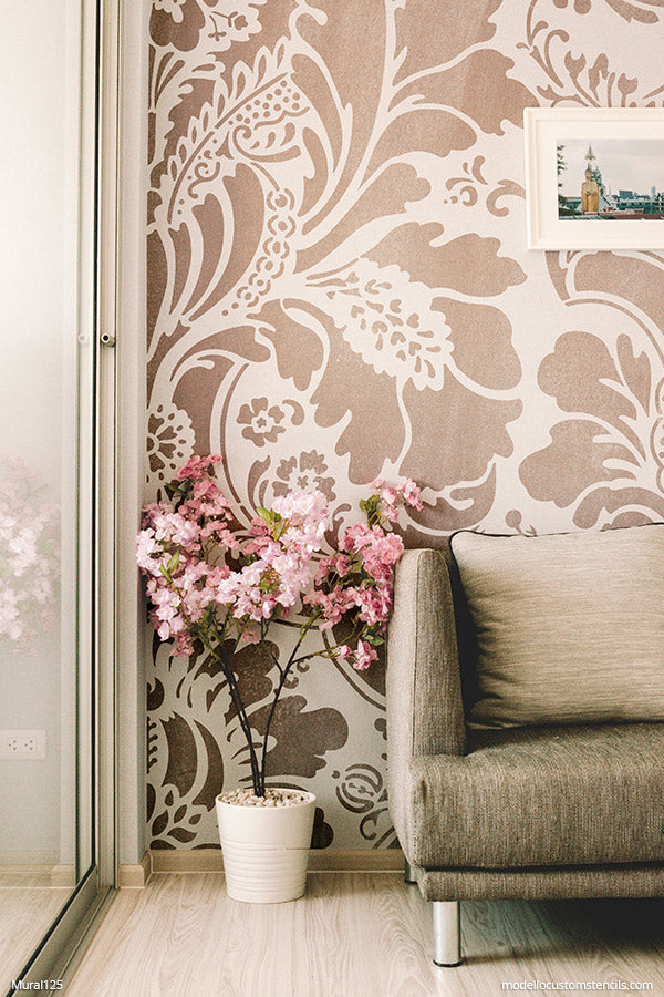 Hand Painted Murals for Beginners Damask Pattern Stencils Large Flower Wallpaper - Modello Custom Wall Stencils modellocustomstencils.com