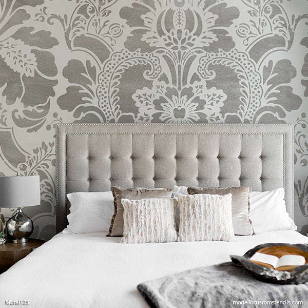 Classic Damask Wallpaper Pattern Custom Mural Art Hand Painted Stencils for Walls - Modello Custom Stencils modellocustomstencils.com