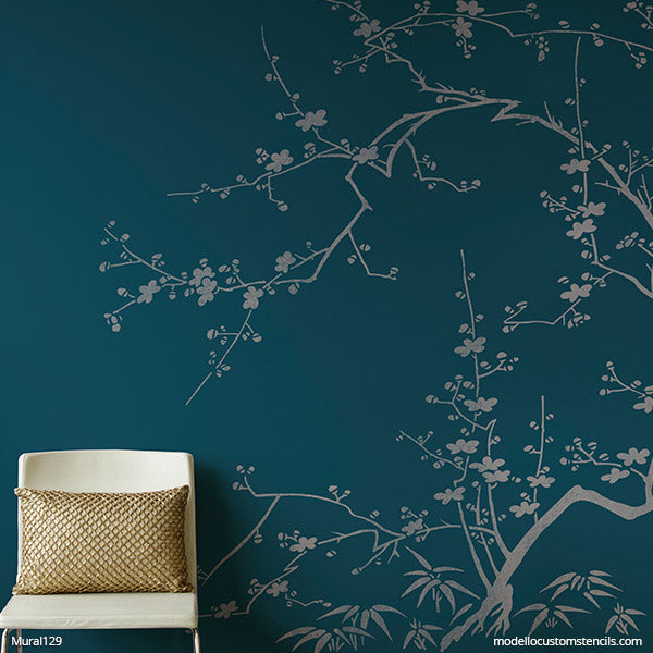 Chinoiserie Stencils for Painting DIY Wall Painting Cherry Blossom Mural - Modello Designs Custom Stencils modellocustomstencils.com