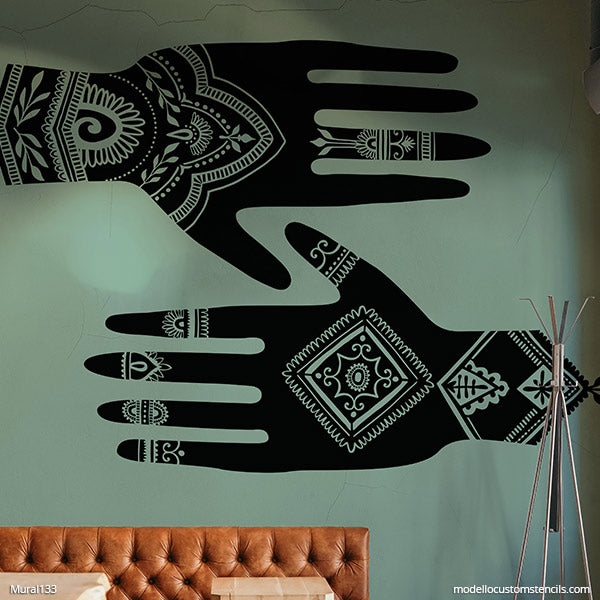 NEW! Henna Hands Wall Mural Stencil Set