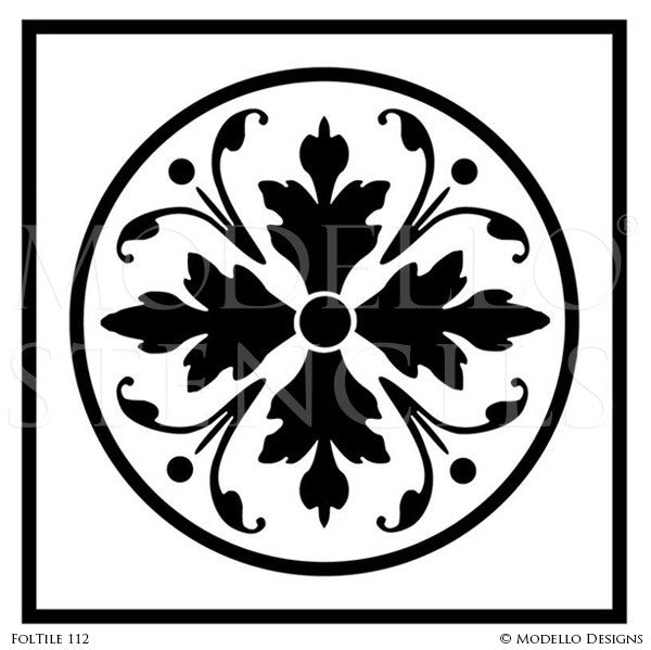 Modern Geometric Leaves and Foliate Tile Stencils - Modello Custom Stencils for Painting