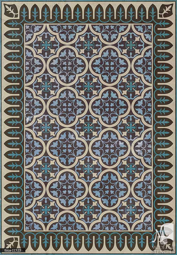 Spanish Interior Design and Decor - Large Adhesvie Carpet Panel Floor Ceiling Stencils - Modello Custom Stencils