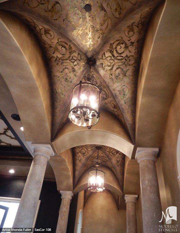 Grand Ceiling Stencils with Ornate Designs and European Style Interior Decor - Modello Custom Stencils