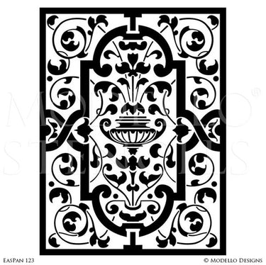 Asian Indian Moroccan Vines Designs Painted on Stenciled Walls, Stained Glass Doors and Windows - Modello Custom Cut Adhesive Panel Stencils