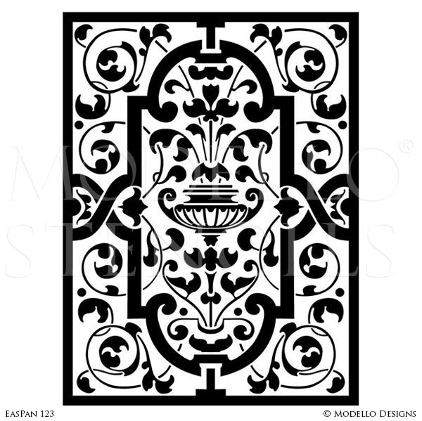 Asian Indian Moroccan Vines Designs Painted on Stenciled Walls Stained Glass Doors and Windows -  sc 1 st  Modello® Designs & Wall Panel Stencils u2013 Modello® Designs
