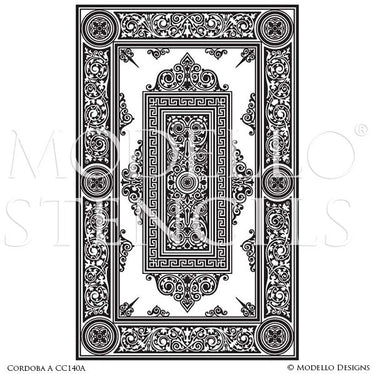 Oriental Asian Designs Painted onto Faux Carpet and Ceiling Panel Stencils - Modello Custom Stencils