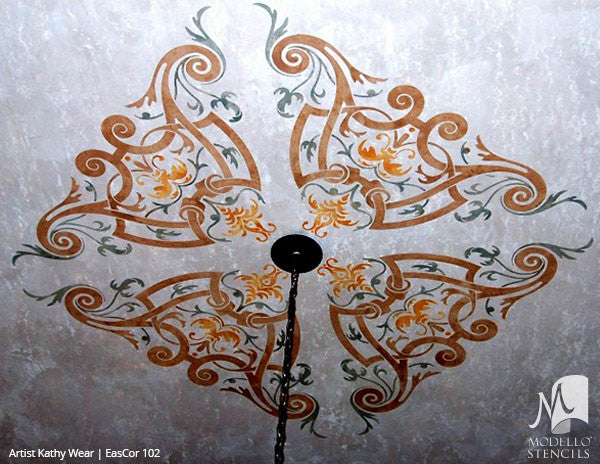 Painting Ceiling Designs with Custom Classic Stencils