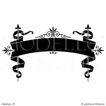 Traditional Classic Ribbon for Painting Typography - Wall Art Stencils - Modello Custom Stencils