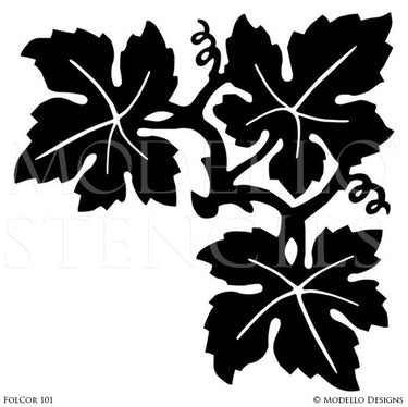 Leaves and Flowers Painted Corner Stencils for Murals - Modello Custom Stencils