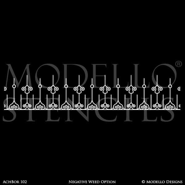 Peel and Stick Adhesive Border Stencils for Painting - Modello Custom Stencils