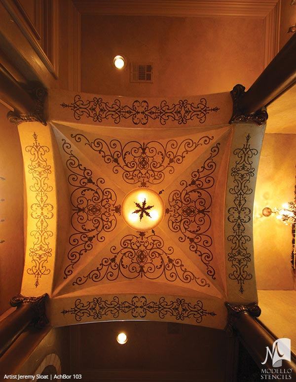 Grand Ceiling Panel Stencils with Ornate Designs and European Style Interior Decor - Modello Custom Stencils
