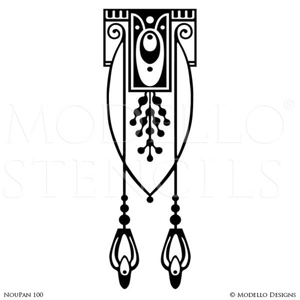 Art Nouveau Decor and Painted Wall Mural Panel Stencils - Modello Custom Stencils