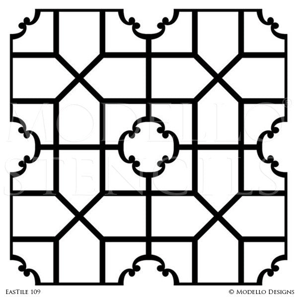 Large Decor Projects using Painted Tile Stencils - Modello Custom Stencils