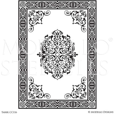 Moroccan, Asian, Indian Decor Ideas and Exotic Interiors - Painting Carpet Floor Stencils and Custom Ceiling Panel Stencils