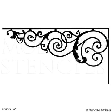 Painted Ceiling Corners Stencils for Designer Decor - Modello Custom Stencils