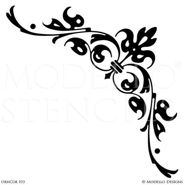 Decorative Stencils for Painting Walls with Designer Corner Stencils  - Modello Custom Stencils
