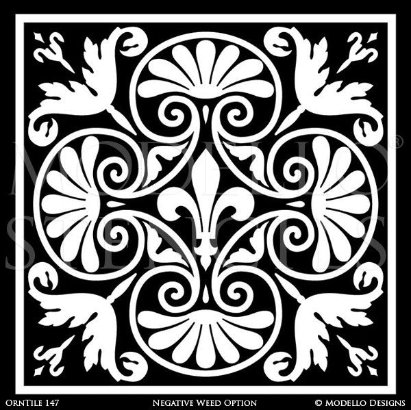 Elegant Painted Decor Ideas using Modello European Style Custom Tile Stencils