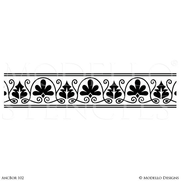 Custom Border Stencils For Painting Walls Ceilings Modello Enchanting Decorative Designs For Borders