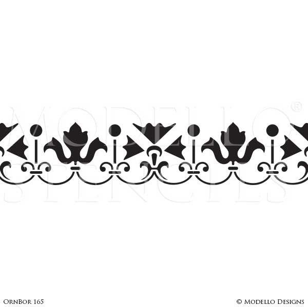 Ornamental and Decorative Wall Art Stencils for Painting Classic Home Decor - Modello Custom Designer Border Stencils
