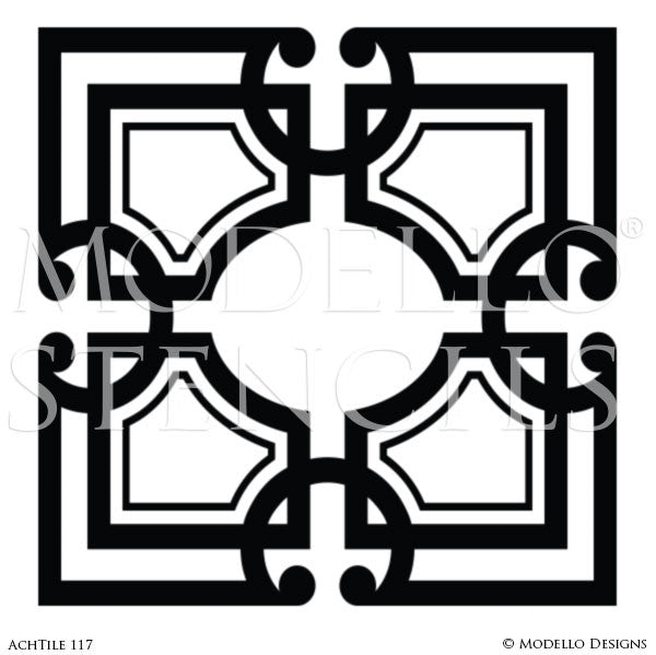Square Tile Designs for Decorating Custom Home Decor - Modello Custom Stencils