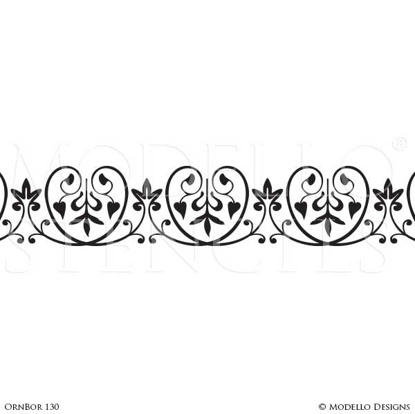 Ornamental and Decorative Wall Art Stencils - Modello Custom Designer Border Stencils